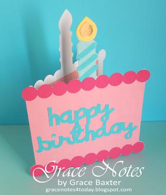 B-day cake shape card, by Grace Baxter
