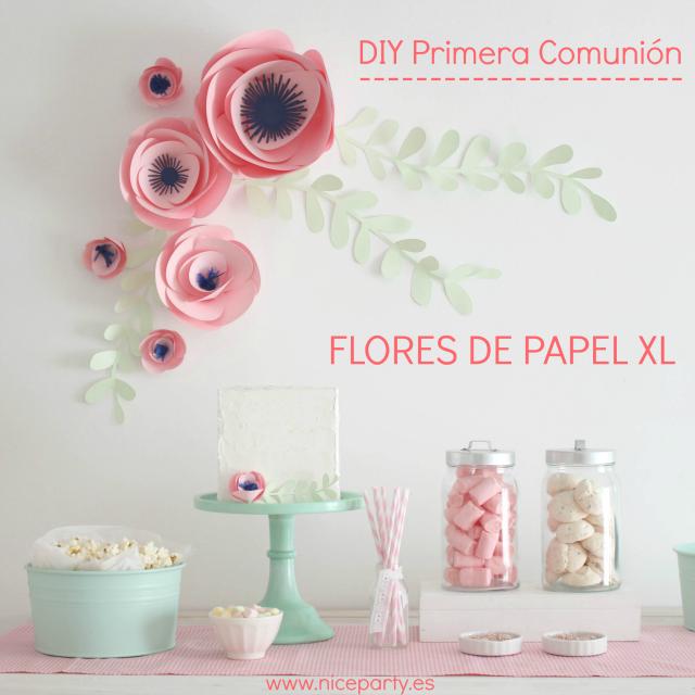 DIY Primera Comunion - Flores papel XL - La Comunion de Noa MAGAZINE