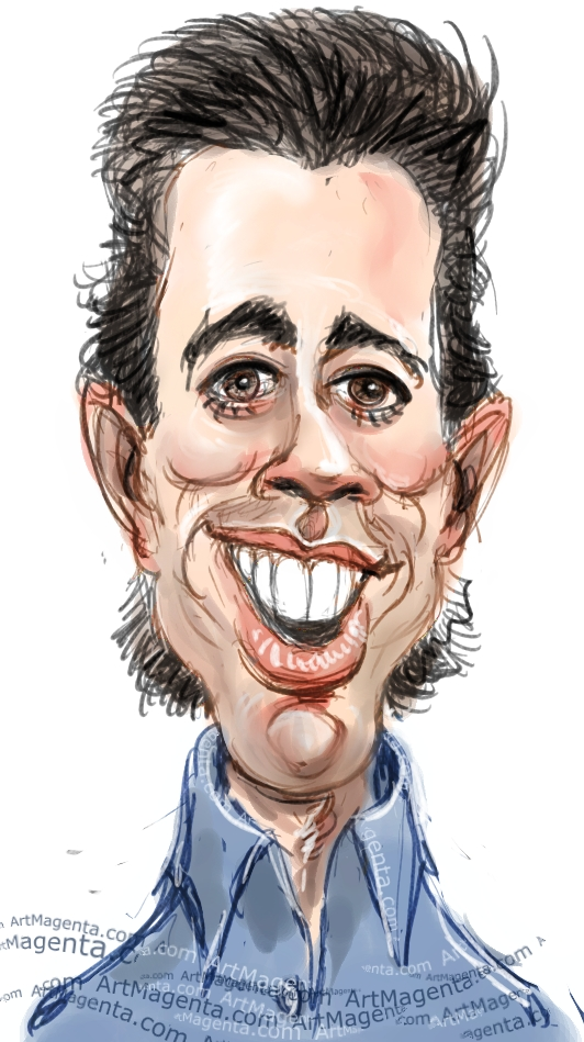 Jerry Seinfeld caricature cartoon. Portrait drawing by caricaturist Artmagenta