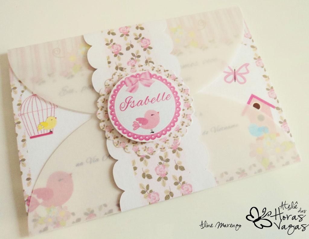 convite artesanal provençal envelope vegetal passarinhos floral rosa 1 aninho