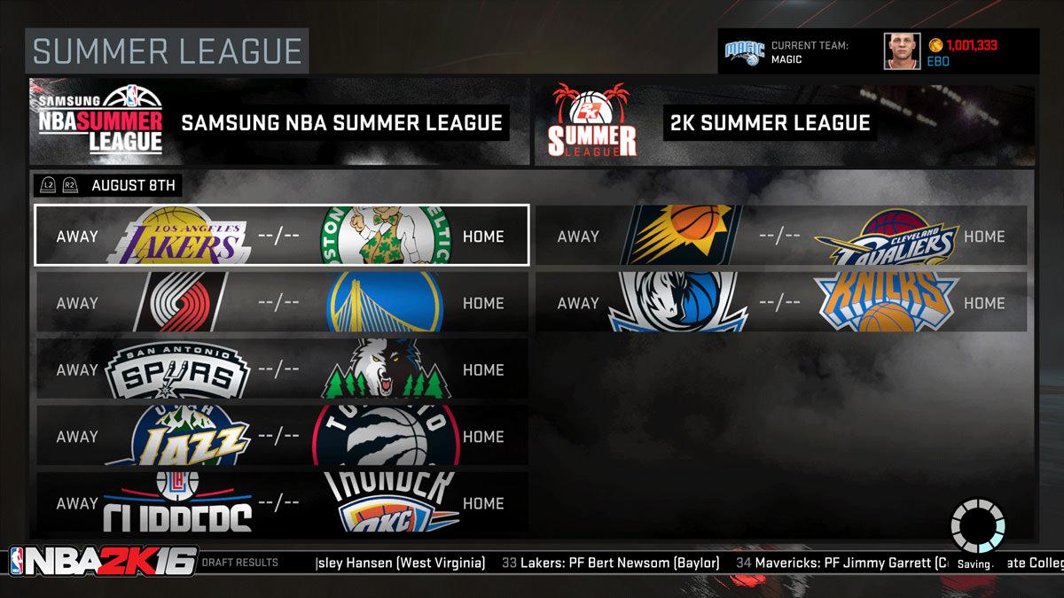 NBA 2k16 MyGM, MyLeague Modes : Summer League