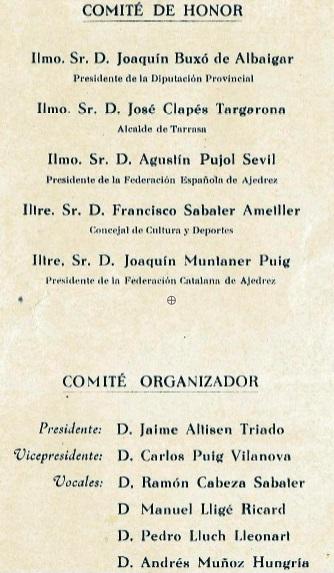 Detalle de los Comités de Honor y Organización del I Torneo Internacional de Terrassa 1960