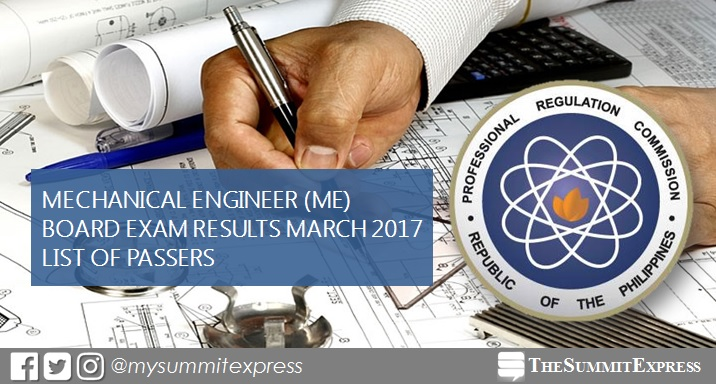 March 2017 Mechanical Engineer ME, CPM board exam results