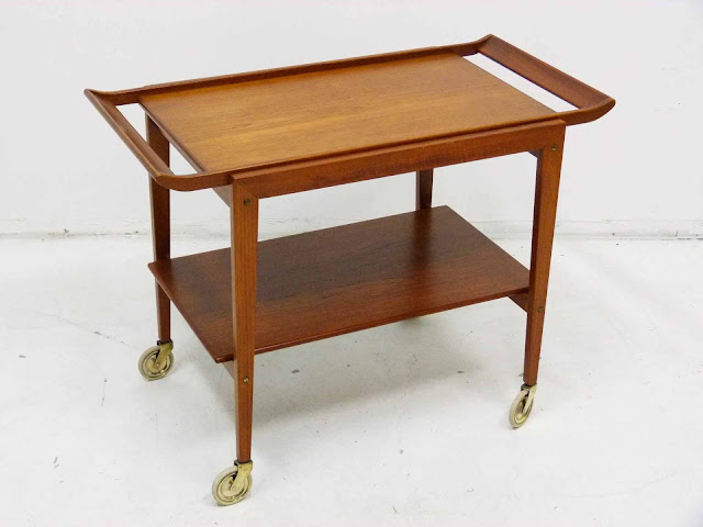 Danish Modern Teak Serving Bar Cart Tove and Edvard Kindt-Larsen