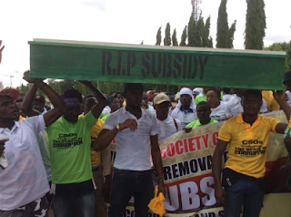 "RIP SUBSIDY: A Group of Youths Carrying Casket Rejoices over the ""Death of Subsidy"" in Abuja"