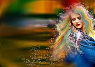 dreamy photo of woman with multi coloured hair