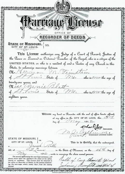 copy of marriage license in missouri