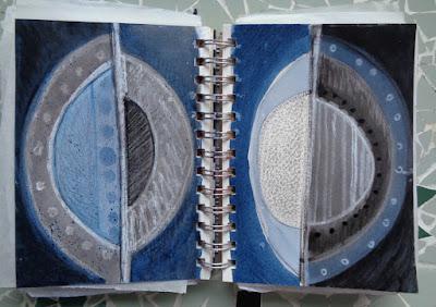 drawings paintings colourful circles sketchbook verna vogel steel sky woman
