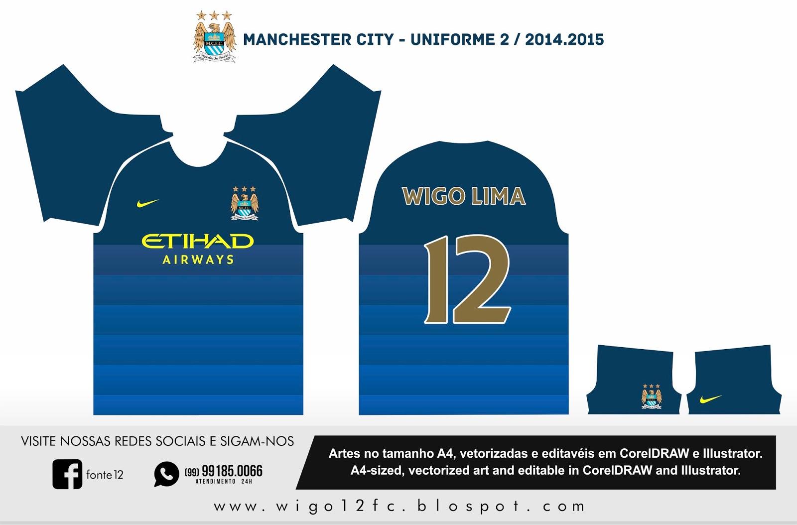Fontes Camisas de Futebol  Uniforme Manchester City 2014-2015 ba520d91df135