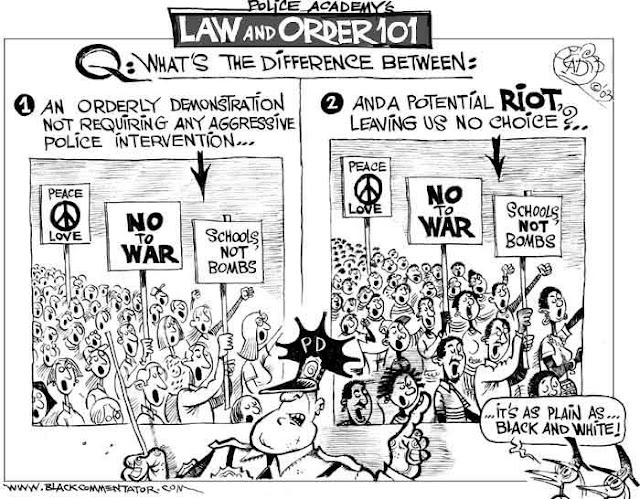 Title:  Law and Order 101.  Image:  Two scenes showing a demonstration.  Demonstrators are carrying signs saying