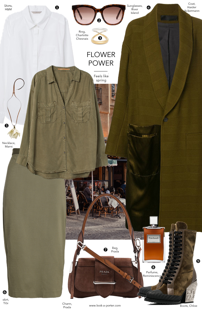 Outfit inspiration in khaki olive green colours styled with midi skirt, layered classic white shirt, haider ackerman coat, prada bag, chloe boots and marine necklace for look-a-porter.com style & fashion blog, outfit inspiration daily, designer and high street best buys, wardrobe essentials and classics