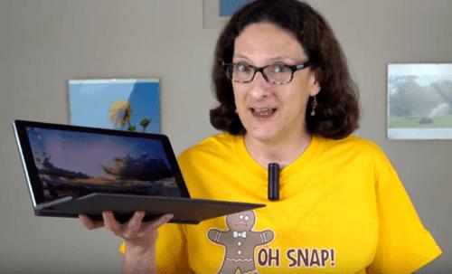 "Lisa Gade Holding The Samsung Galaxy Book 12"""