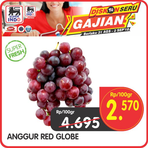 Superindo - Promo Diskon Seru Gajian Anggur Red Globe Cum 2570 / 100 gr