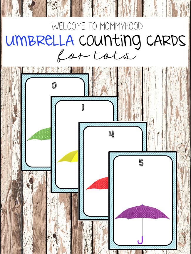 Spring activities: Umbrella number cards by Welcome to Mommyhood #montessori, #preschoolactivities, #numbersactivities, #toddleractivities, #totlabs, #springactivities