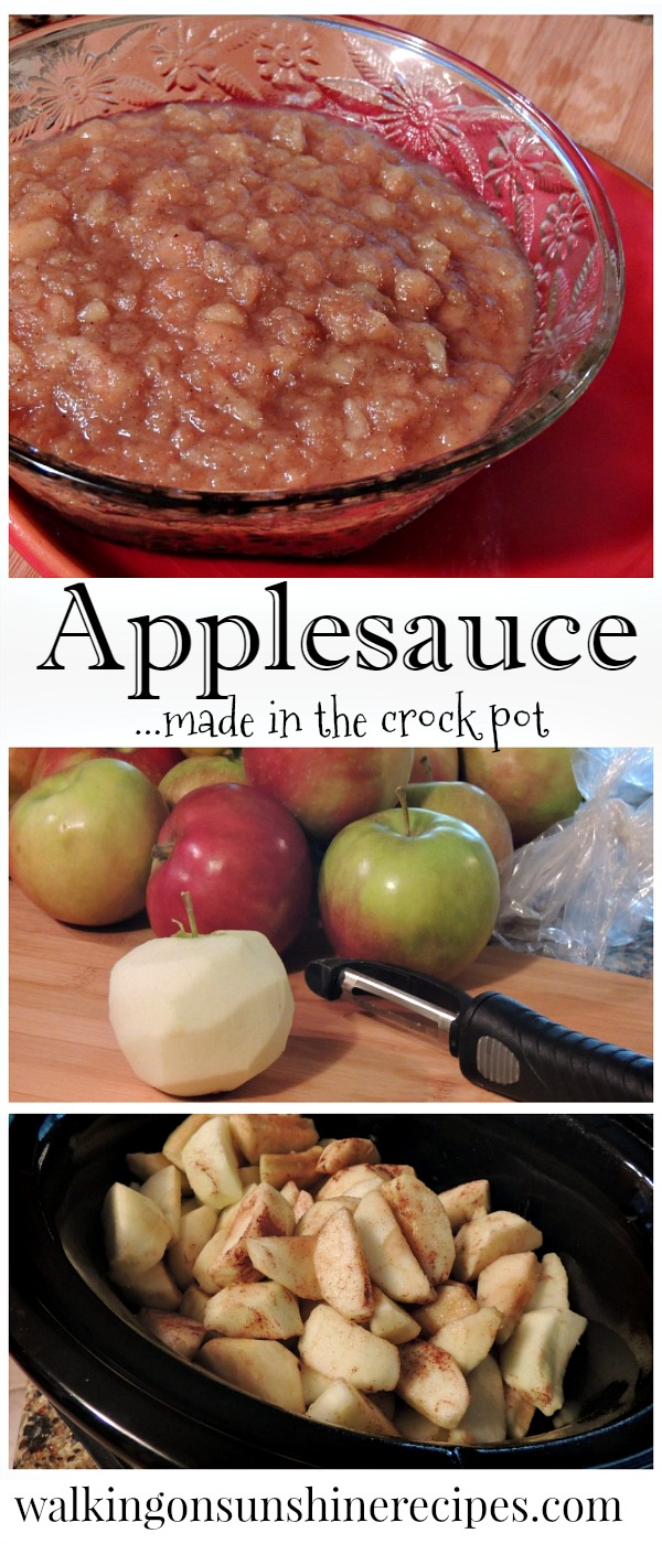 Delicious and so easy homemade applesauce made in the crock pot from Walking on Sunshine.