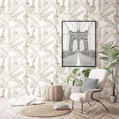 Papel Pintado Beige con plantas tropicales 035