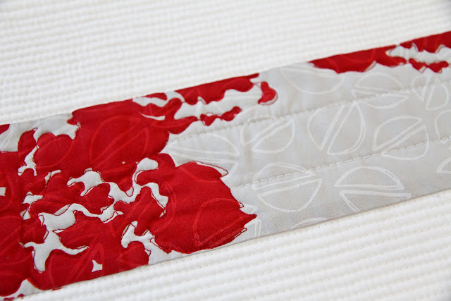 red and grey modern minimal screen-printed quilt with matchstick quilting | Lovely and Enough