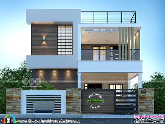 Rendering of modern contemporary house front view