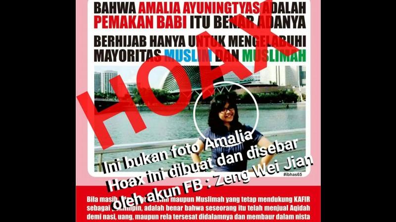 Foto Hoax Amalia Ayuningtyas tanpa jilbab