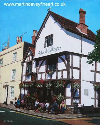 Duke of Wellington Tudor pub Southampton acrylic painting