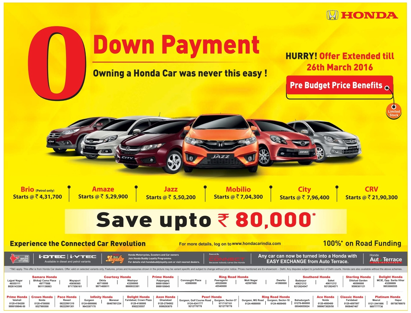 Never before offer on Honda Cars | Zero down payment on Honda cars | March 2016 discount offers | Holi festive offer.