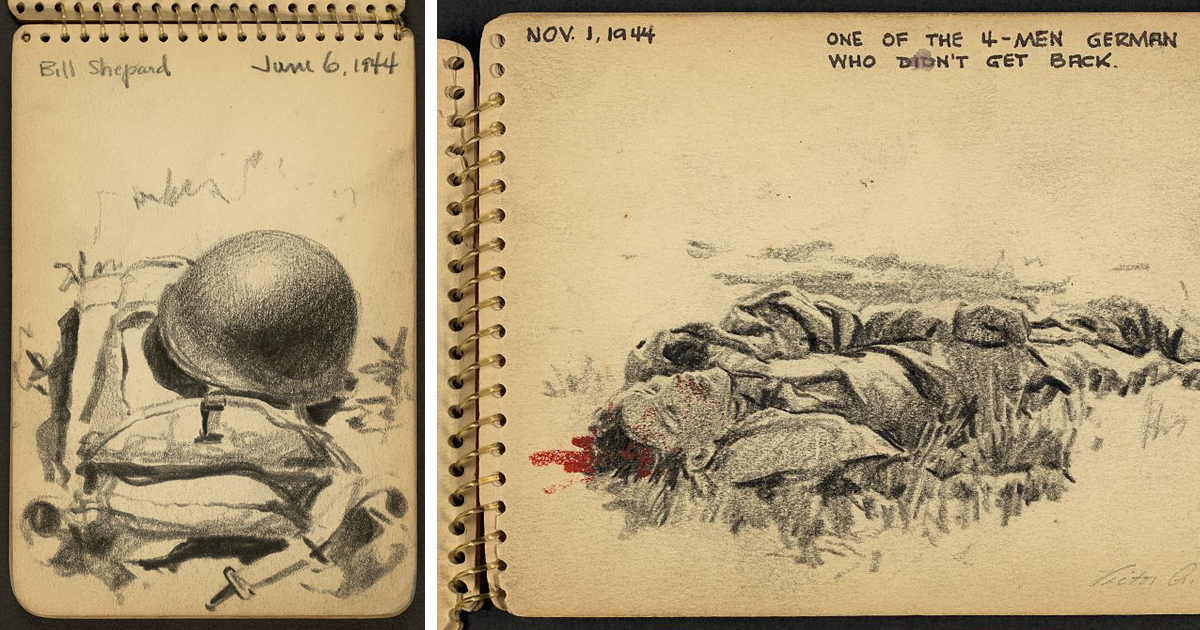 21-Year-Old WWII Soldier's Sketchbooks Show War Through The Eyes Of An Architect