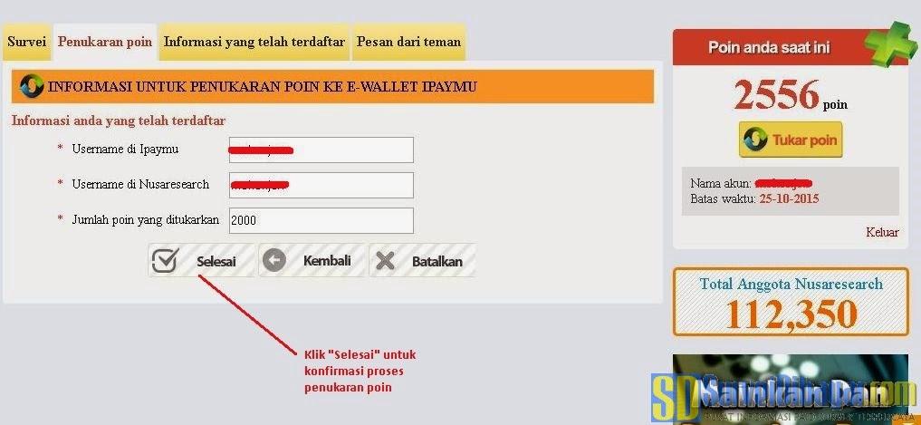 Konfirmasi untuk menukarkan poin Nusaresearch dengan iPaymu | Survei Dibayar