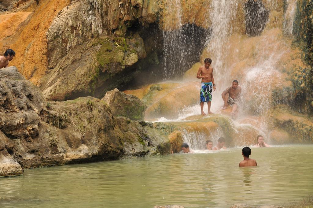 Hot spring pool side Segara Anak Lake of Mount Rinjani