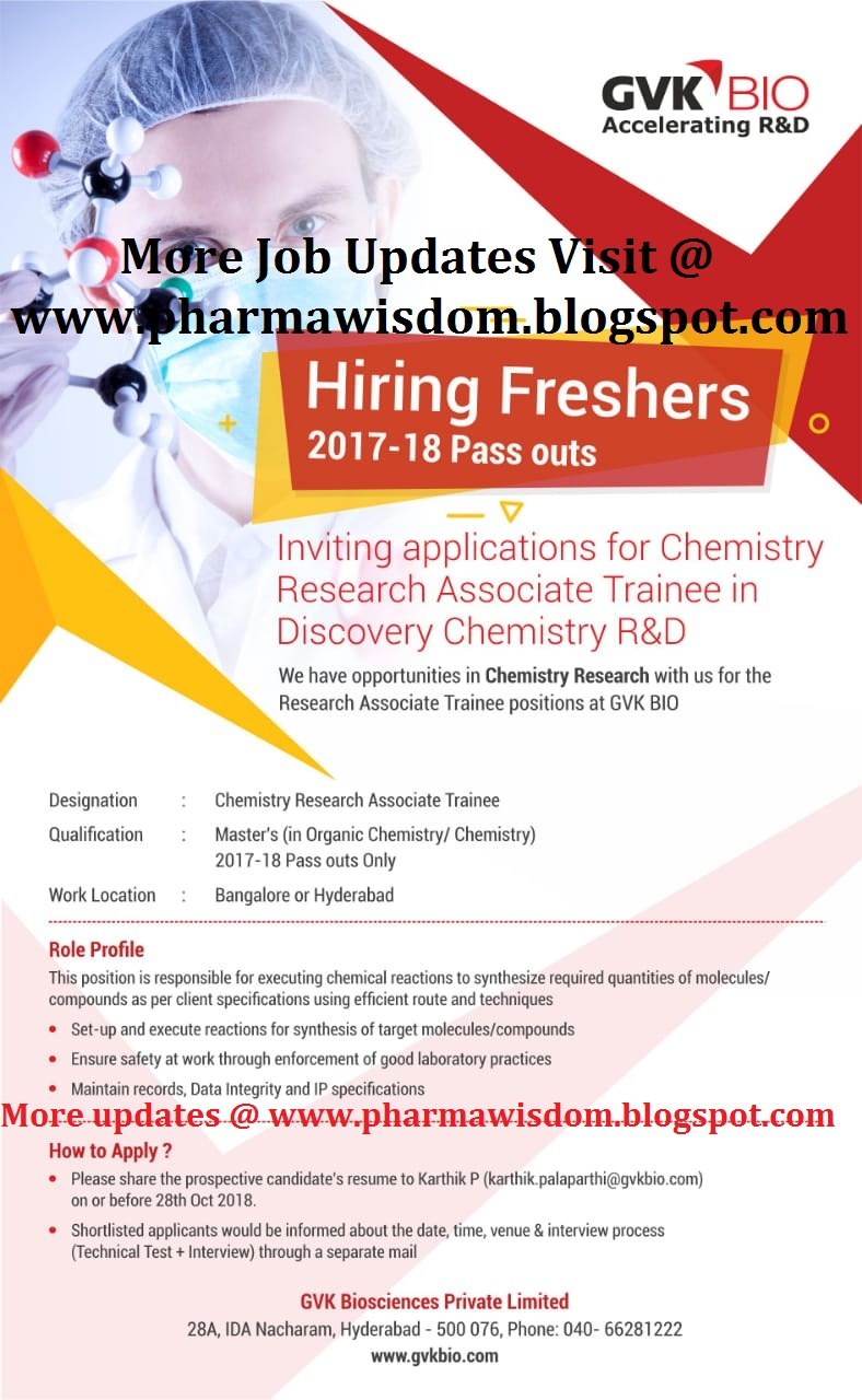 GVK BIO - Urgently Hiring Freshers - Apply Here | PHARMA JOBS