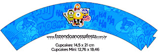 Wrappers para Cupcake Gratis de Minions Super Héroes.
