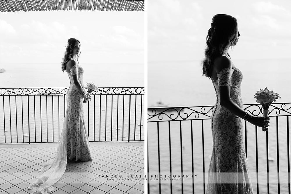 Bride portait on balcony at San Pietro hotel