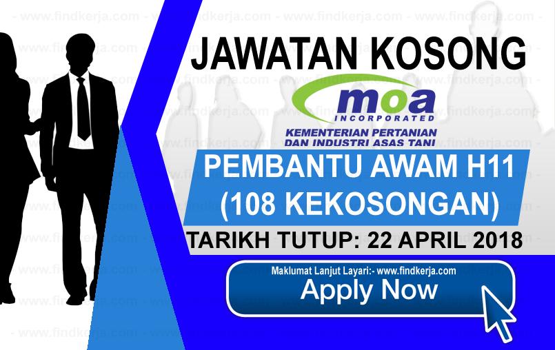 Jawatan Kerja Kosong MOA - Kementerian Pertanian & Industri Asas Tani logo www.findkerja.com april 2018