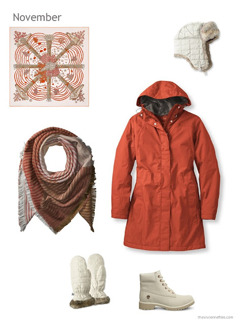 an orange winter coat with ivory accents