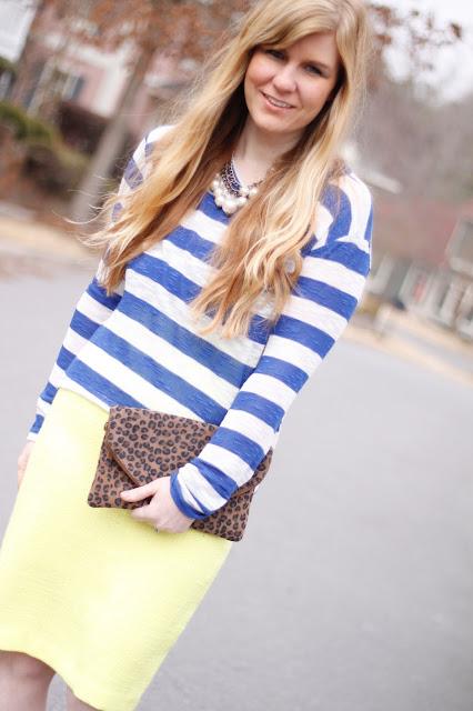 LNA striped shirt and neon pencil skirt