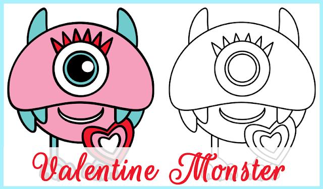 Valentine Monster Clipart