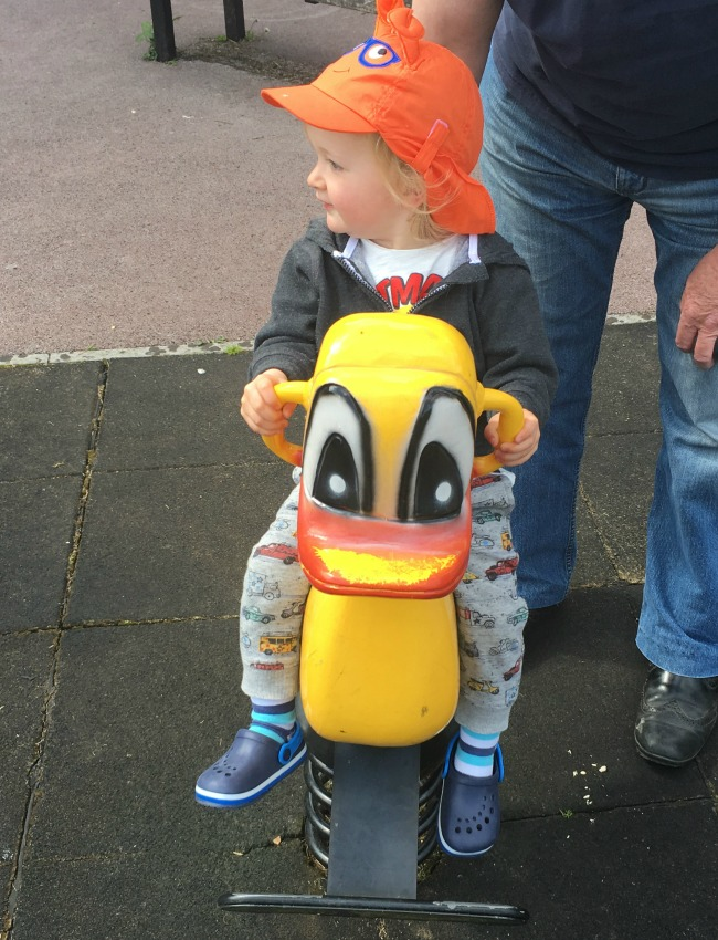 toddler on a toy duck