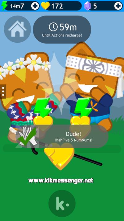 Manten feliz al simpatico personaje del juego NumNums en Kik