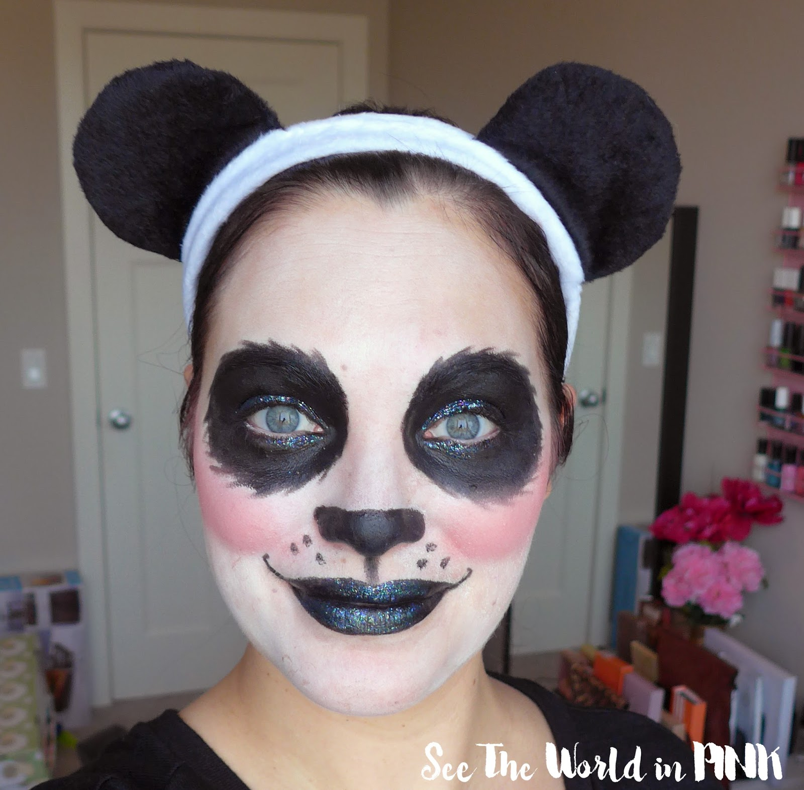 Halloween Look - Pretty Glam Glitter Panda Makeup!
