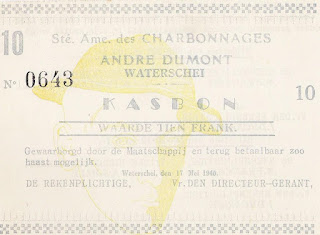image of World War II emergency note issued by the Belgian coal mine Charbonnages André Dumont