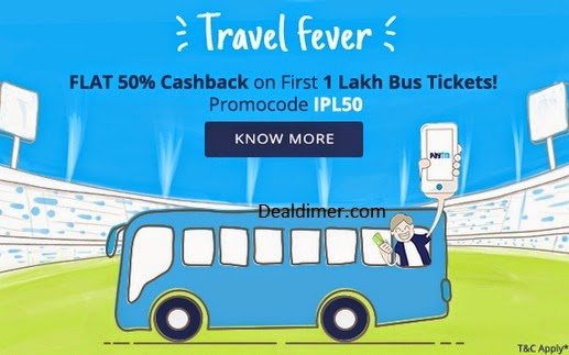 Book Bus Tickets @ 50% off (maximum Rs. 400 Off) – PayTm