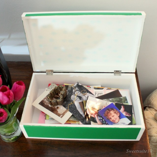 painted wood box storing keepsakes