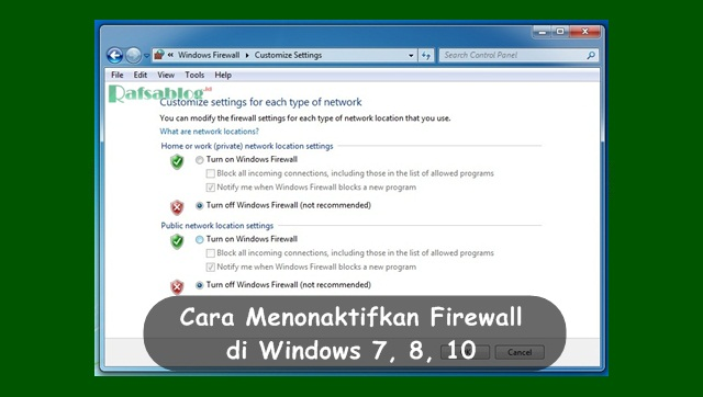 Cara menonaktifkan firewall di windows 7, 8 ,10