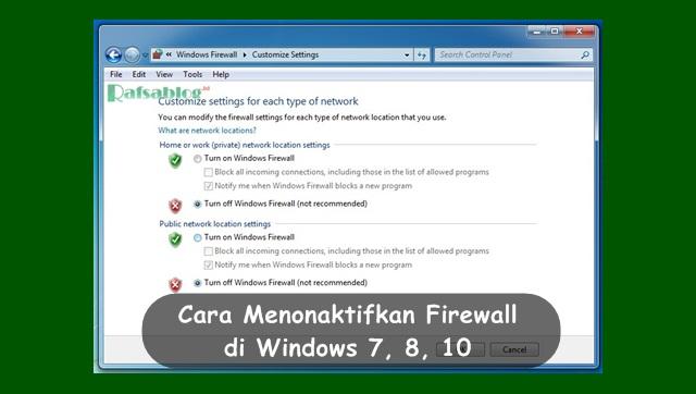 Cara Menonaktifkan Firewall di Windows 7, 8, 10