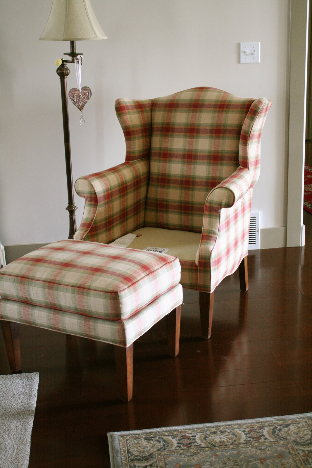 Wing Chair Ottoman Slipcovers Wingback With & Plaid Wing Back Chair | Shapeyourminds.com