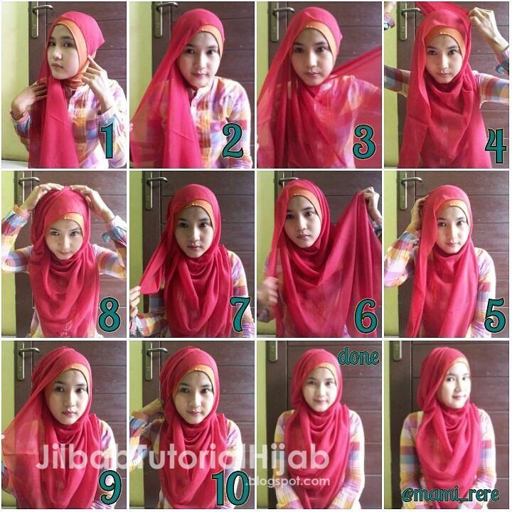 6 Tutorial Hijab Segi Empat untuk Wajah Bulat | Jilbab