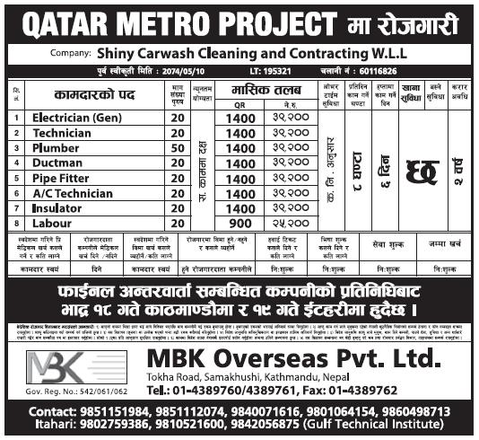 Jobs in Qatar Metro Project, salary Rs 39,200