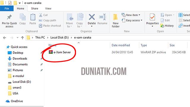 cara install server e-xam caraka