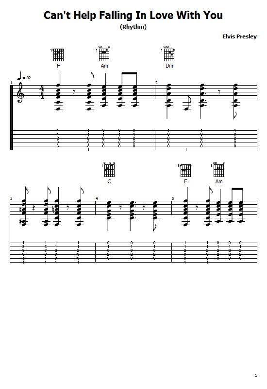 Can't Help Falling in Love With You Tabs Elvis Presley   Chords