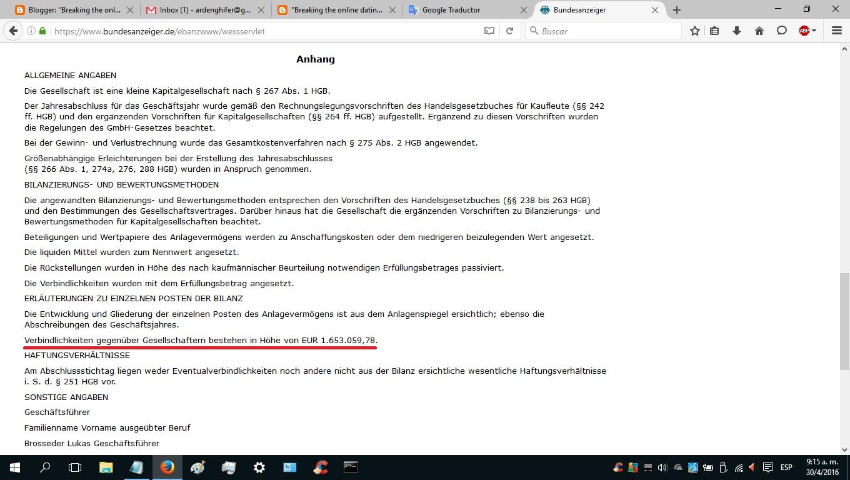 Jahresabschluss zum Gesch  ftsjahr vom            bis zum             Verbindlichkeiten gegen  ber Gesellschaftern bestehen in H  he von EUR