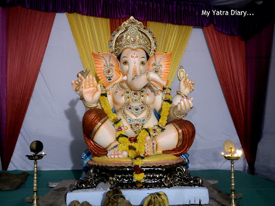 Ganpati pandal decorated during the Ganesh Chaturthi festival
